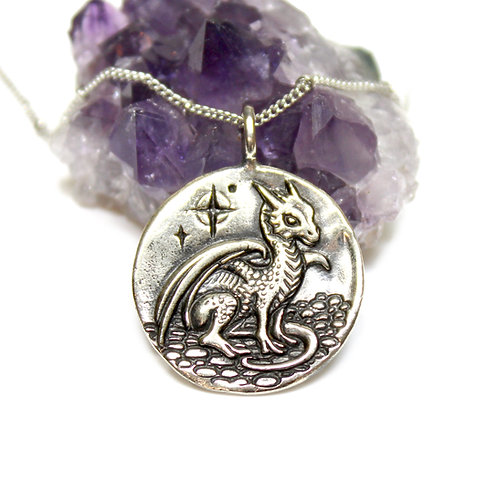 Large Dragon Pendant - DOUBLE SIDED - silver dragon - flying dragon