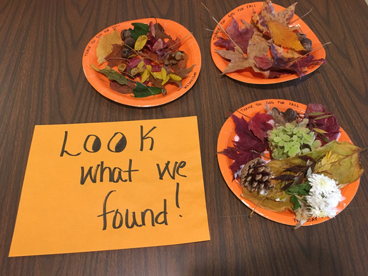 PMO kids went outside looking for signs of fall and made a fun project out of it!