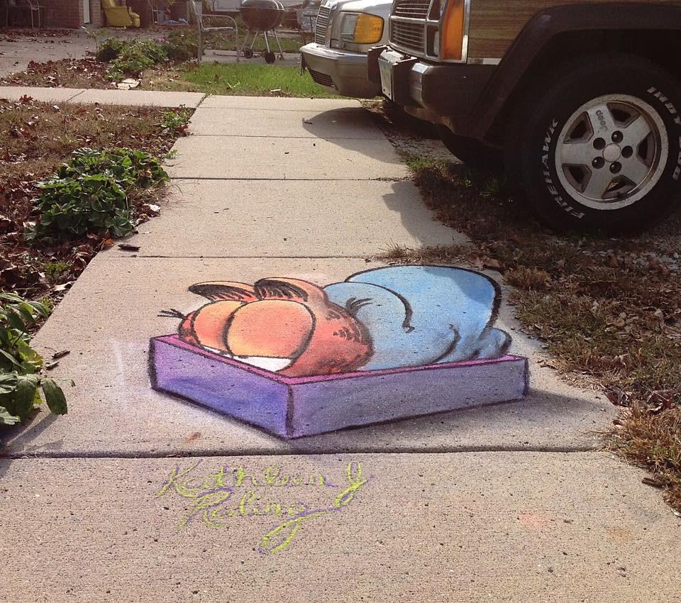 3D Chalk Art Garfield _ Kathleen Roling