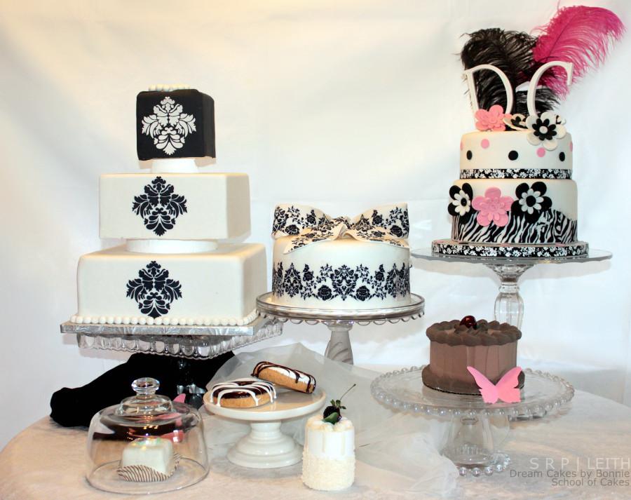 Various cakes displayed