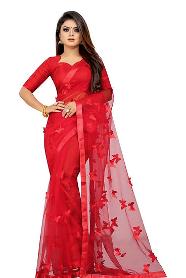 Wondroous Soft Net Saree With Butterfly Concept - Red