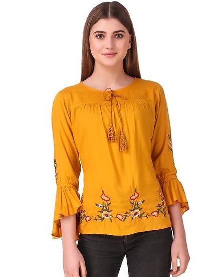 Exquisite Solid Cotton Embroidered Top - Yellow