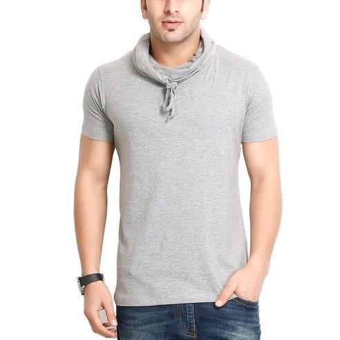 Premium Men's  Hoody Neck T-shirt - Grey