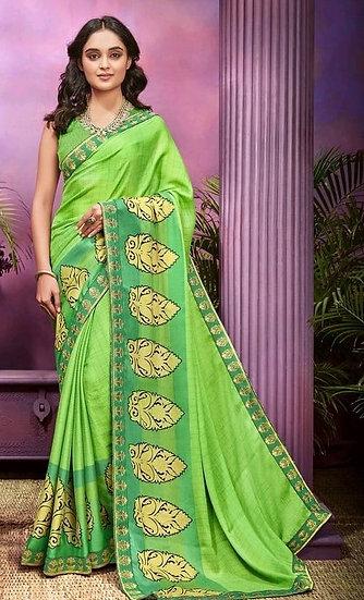 Fascinating Premium Printed Chiffon Saree - Light Green