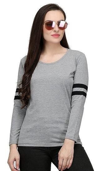 Dazzling Solid Side Striped Cotton Tshirt - Grey Black