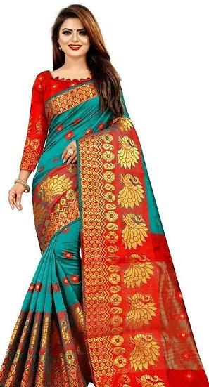 Wondrous Printed Banarasi Silk Saree - Green