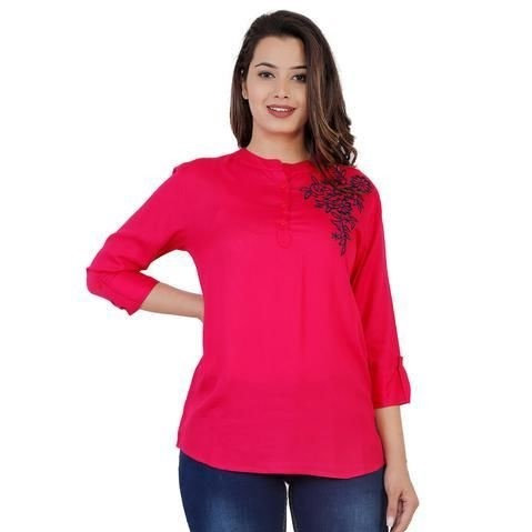Wondrous Rayon Solid Embroidered Top - Pink