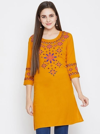 Comely Rayon Embroidered Tunic - Yellow