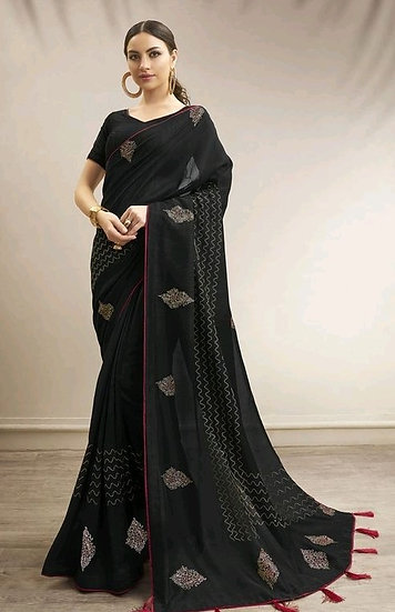 Gracious Chanderi Silk Traditional Print Black Saree