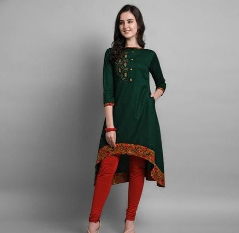 Stunning Cotton Asymmetrical Printed Kurti - Green
