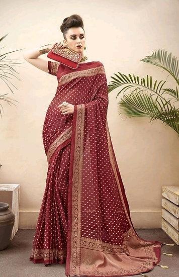 Wondrous Traditional Printed Chiffon Saree - Maroon