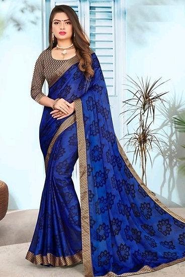 Fascinating Premium Print Chiffon Saree - Blue