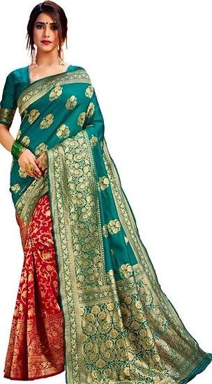Fascinating  Banarasi Dual Color Pattern Silk Saree - Green & Red