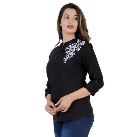 Wondrous Rayon Solid Embroidered Top - Black