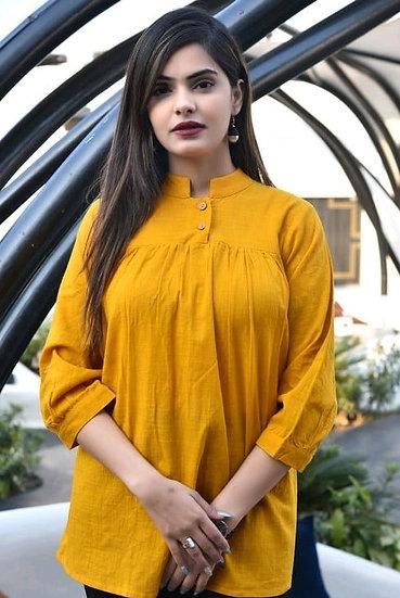 Exquisite Designer Cotton Top - Yellow