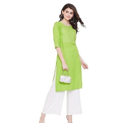 Flamboyant Premium Embroidered Green Kurta