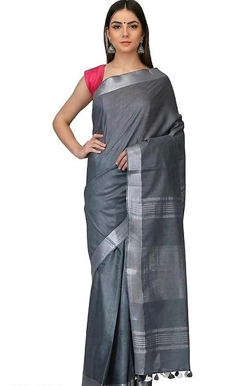 Ravishing Cotton Slub Designer Sarees - Grey
