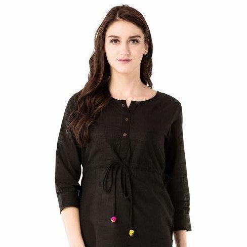 Gracious Designer Women's Cotton Top - Black