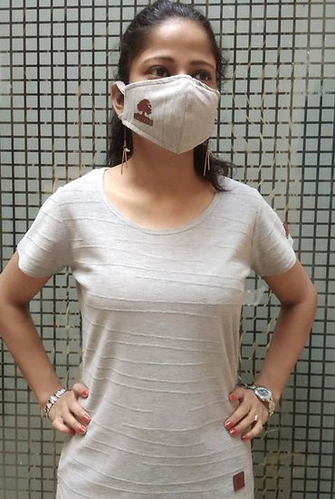 Comely Premium Textured Tshirt With Free Mask - Grey