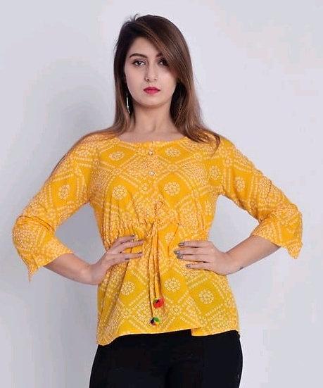 Wondrous Printed Cotton Top - Yellow