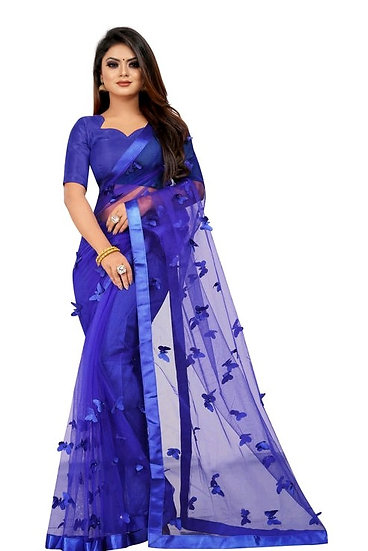 Wondroous Soft Net Saree With Butterfly Concept - B Blue