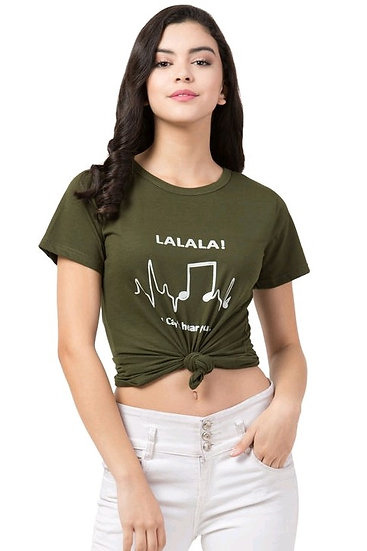 Dazzlingly Catchy Printed Solid Women's Tshirts - Green