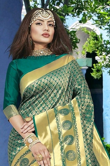 Wondrous Poly Silk Party Jacquard Saree - Green