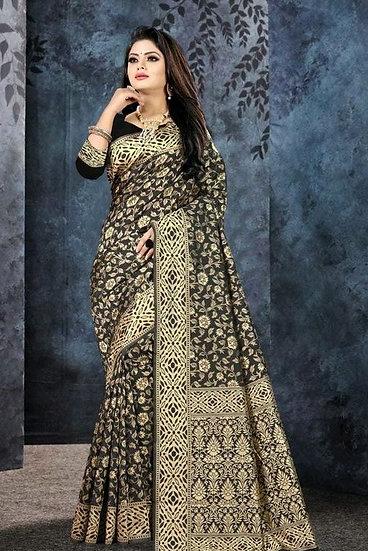 Gracious Banarasi Silk Zari Woven Work Saree - Black
