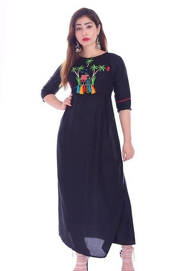 Fascinating Embroidered Long Kurti - Dark Blue
