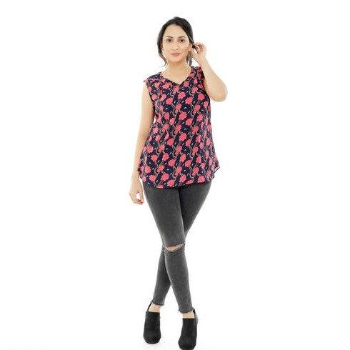 Dazzling Premium Floral Print Georgette Sleeveless Tunic - Black