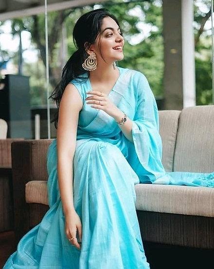 Ravishing Cotton Slub Formal Sarees - Sky Blue