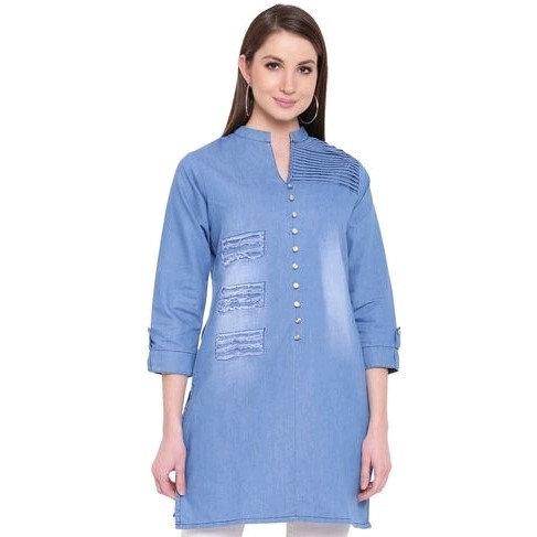 Premium Denim Designer Pattern Tunic/Short Kurti