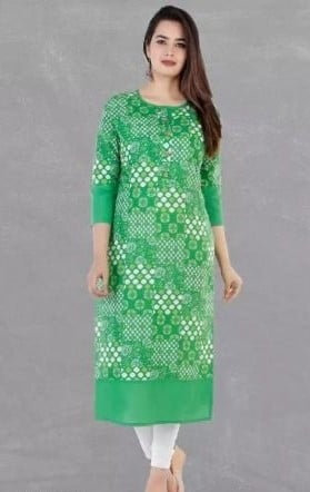 Gracious Printed Cotton Straight Kurta - Green
