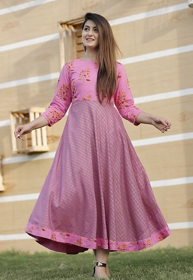 Comely Woven Pattern Short Kurti - Pink