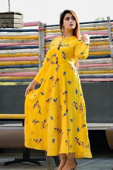 Comely Printed Rayon Short Kurti -Yellow