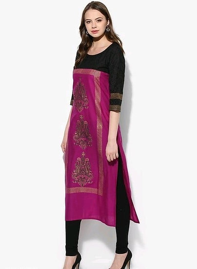 Wondrous Block Printed Cotton Kurti - Black & Red Violet