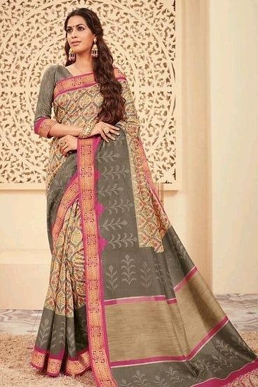 Ravishing Premium Printed Silk Saree - Light Brown