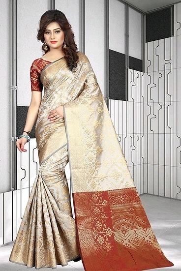 Comely Premium Zari Work Banarasi Silk Saree - Pattern 4