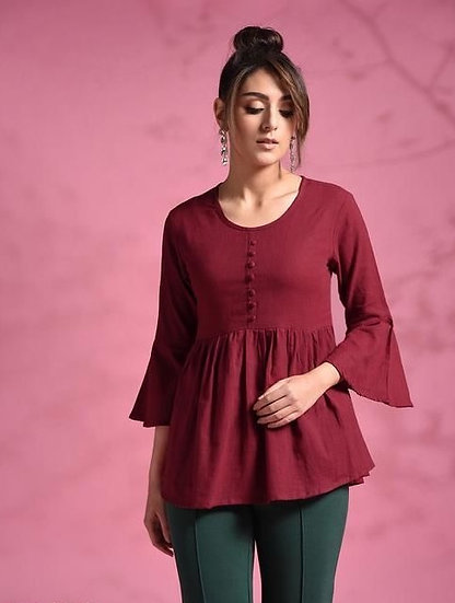 Gracious Cotton Solid Womens Top - Maroon