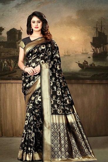 Wondrous Banarasi Silk Printed Saree - Black