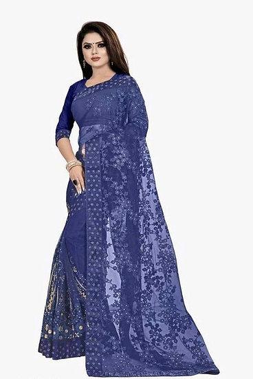 Premium Embroidered Net Saree + Bangalori Silk Blouse - Blue