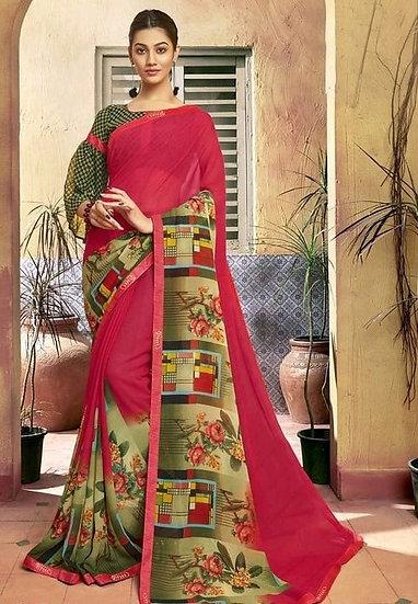 Dazzling Multicolored Print Georgette Saree - Red