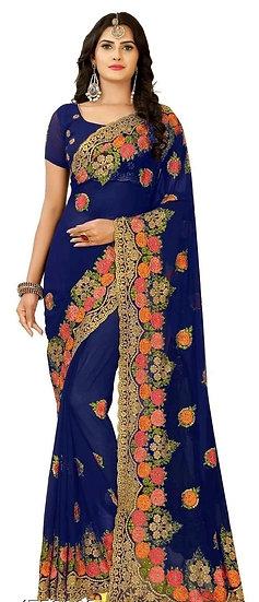 Beauteous Premium Embroidered Georgette Saree - Blue