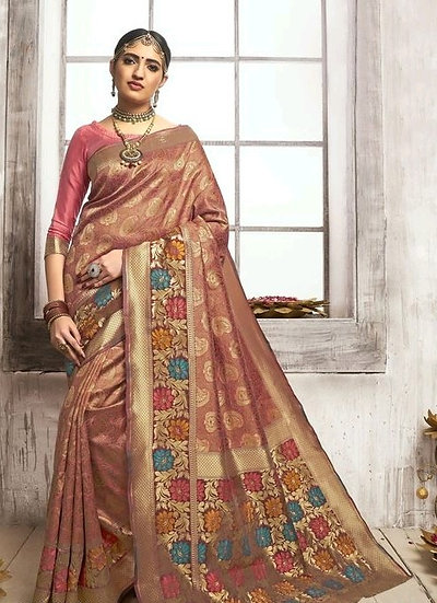Comely Poly Silk Traditional Jacquard Saree - Apricot Red
