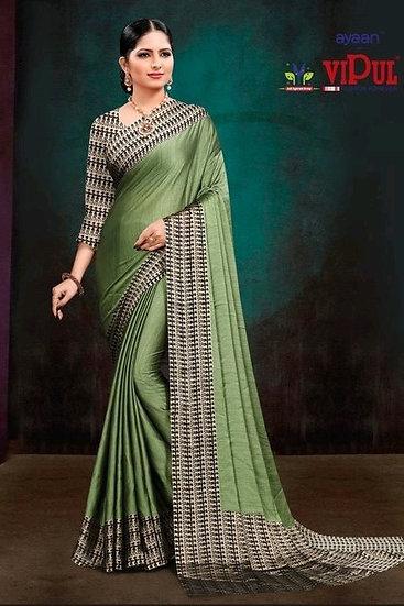 Fascinating Classy Print Chiffon Saree - Green PATT2