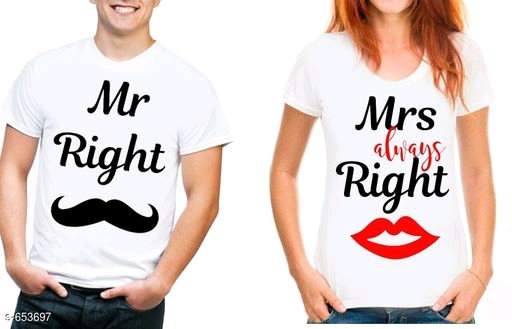 Adorable Couple T-shirts - Mr. Right & Mrs. Always Right