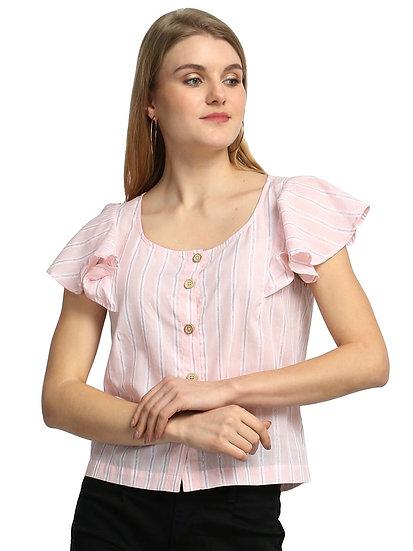 GALAXY TRENDZ Premium Stripe Pattern Crop Trop - Light Pink & White