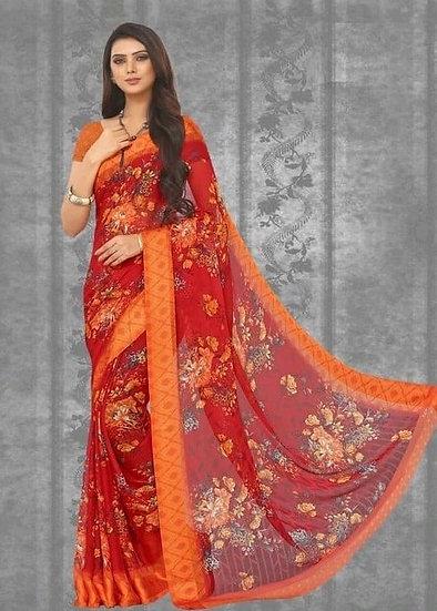 Ravishing Print Chiffon Saree - Red & Orange