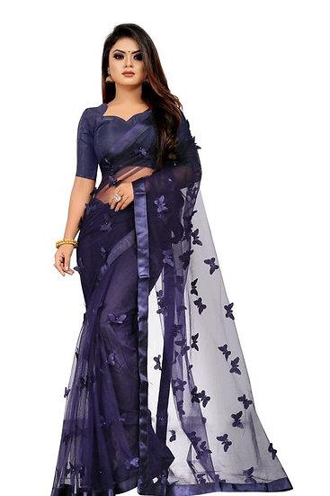 Wondroous Soft Net Saree With Butterfly Concept - Dark blue