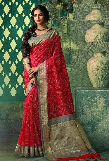 Ravishing Premium Printed Silk Saree - Red